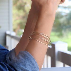 ✨Wrap cuff bracelet hammered gold open bangle